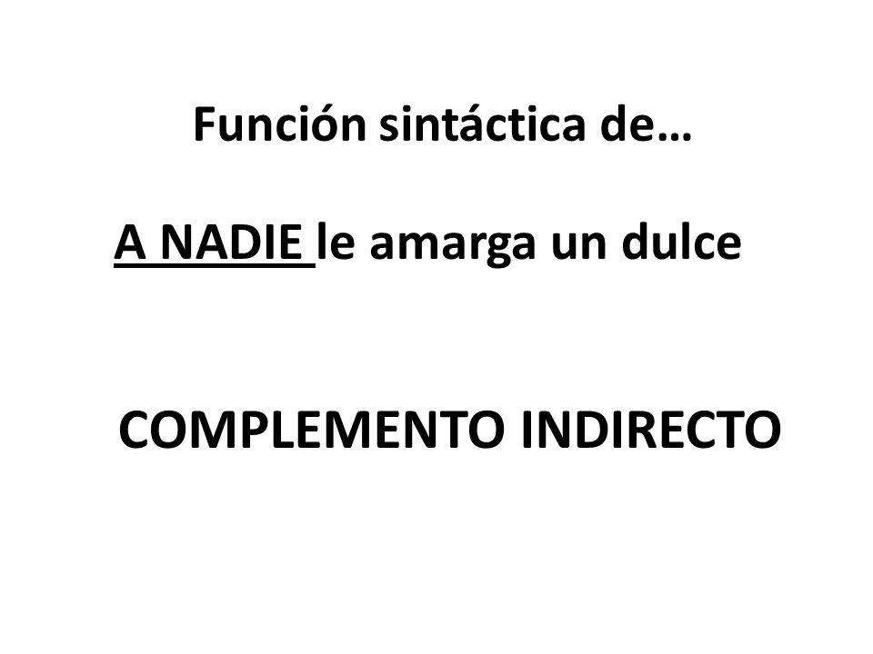 Función sintáctica de… A NADIE le amarga un dulce COMPLEMENTO INDIRECTO