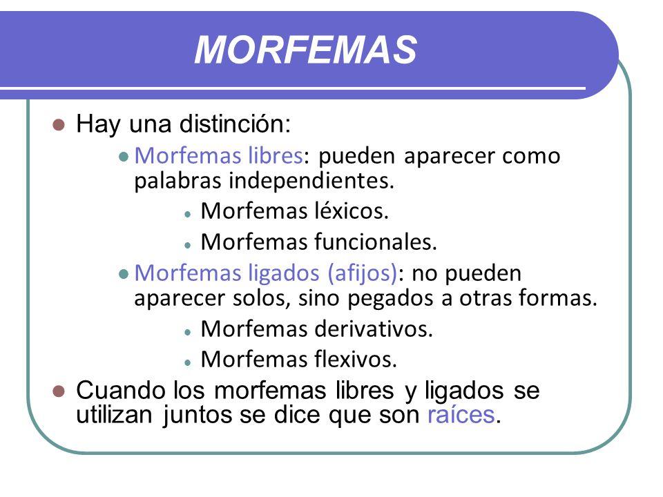 MORFEMAS Hay una distinción: Morfemas libres: pueden aparecer como palabras independientes. Morfemas léxicos. Morfemas funcionales. Morfemas ligados (