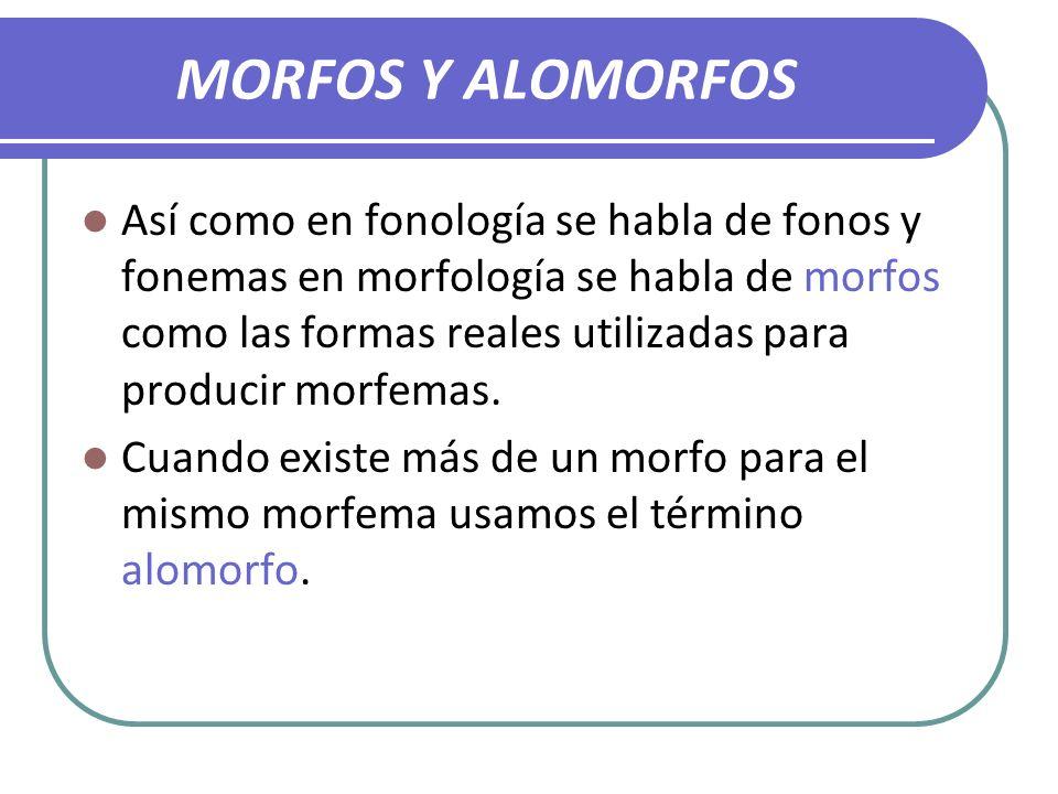 MORFOS Y ALOMORFOS Así como en fonología se habla de fonos y fonemas en morfología se habla de morfos como las formas reales utilizadas para producir