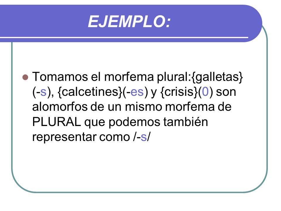 EJEMPLO: Tomamos el morfema plural:{galletas} (-s), {calcetines}(-es) y {crisis}(0) son alomorfos de un mismo morfema de PLURAL que podemos también re