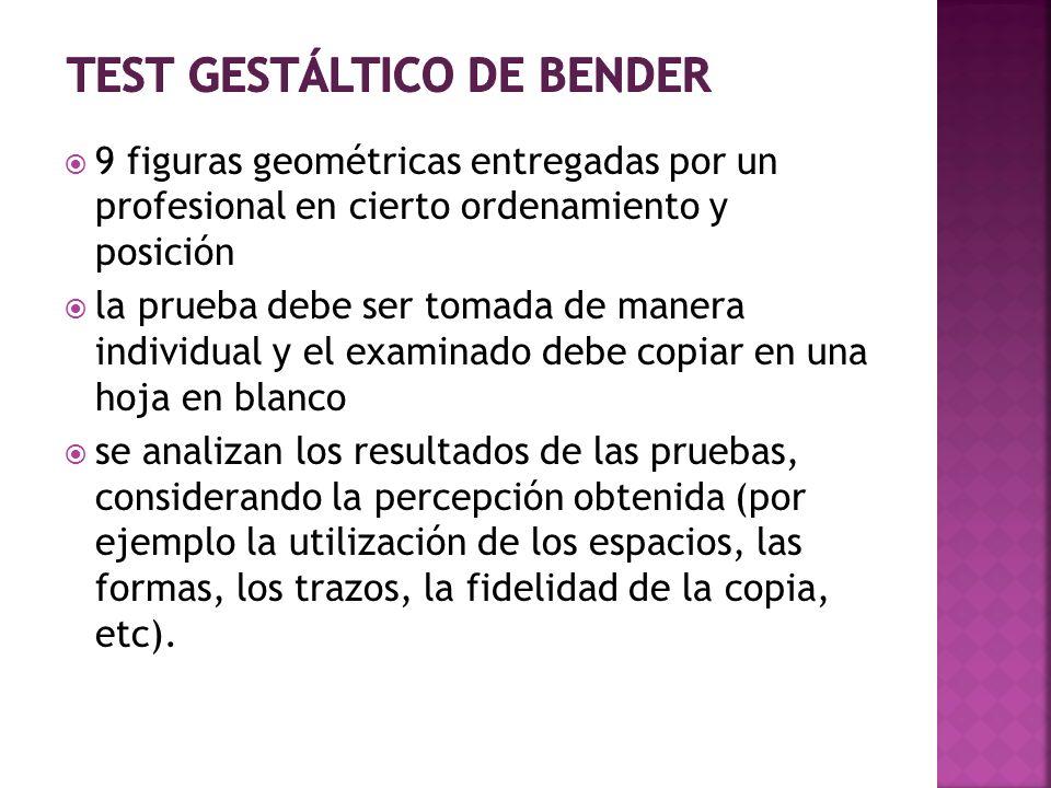 9 figuras geométricas entregadas por un profesional en cierto ordenamiento y posición la prueba debe ser tomada de manera individual y el examinado de