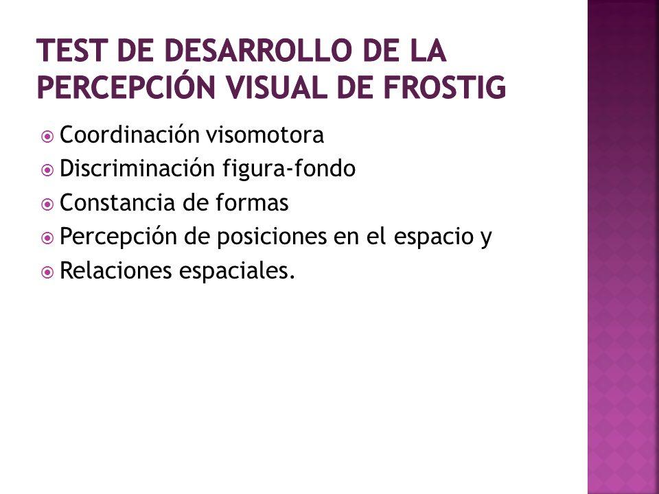 Coordinación visomotora Discriminación figura-fondo Constancia de formas Percepción de posiciones en el espacio y Relaciones espaciales.