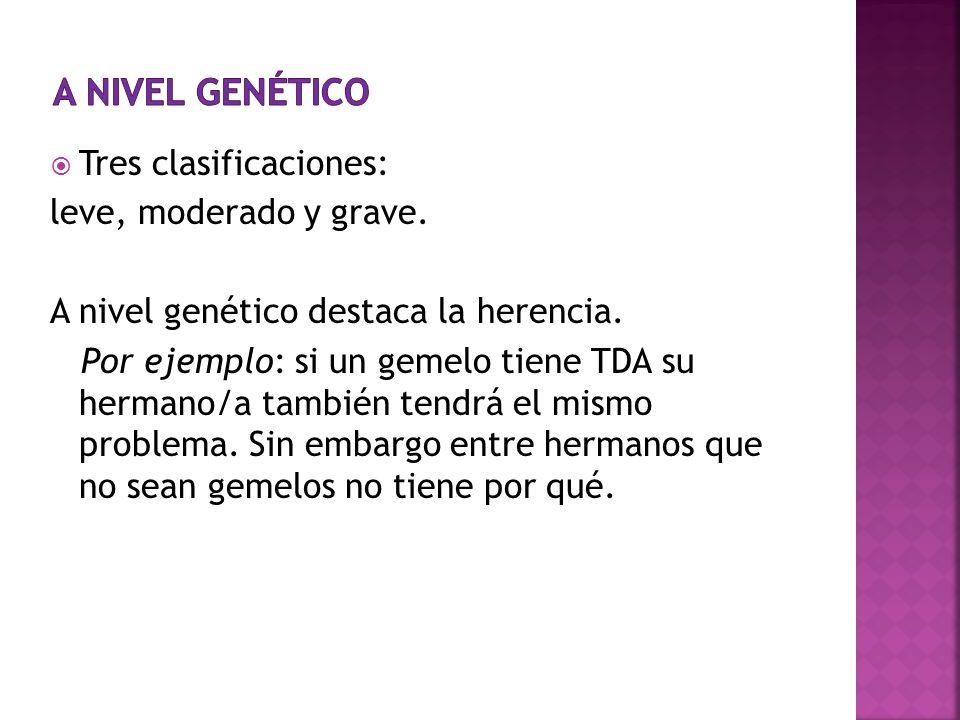 Tres clasificaciones: leve, moderado y grave. A nivel genético destaca la herencia. Por ejemplo: si un gemelo tiene TDA su hermano/a también tendrá el