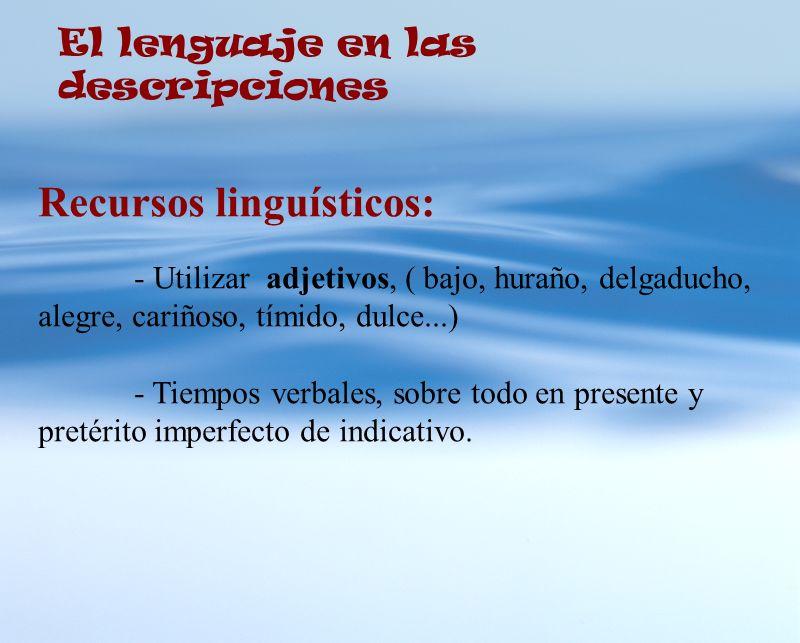 El lenguaje en las descripciones Recursos linguísticos: - Utilizar adjetivos, ( bajo, huraño, delgaducho, alegre, cariñoso, tímido, dulce...) - Tiempo