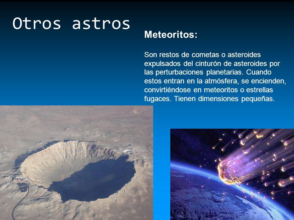 Meteoritos: Son restos de cometas o asteroides expulsados del cinturón de asteroides por las perturbaciones planetarias. Cuando estos entran en la atm