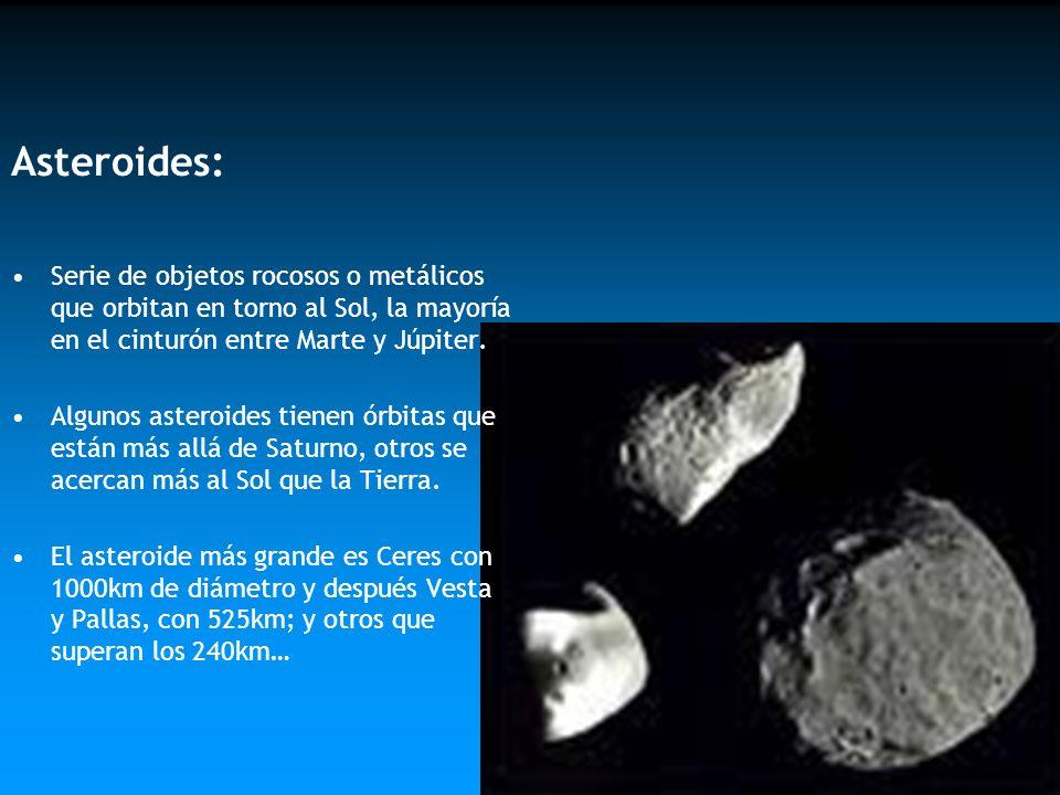 Asteroides: Serie de objetos rocosos o metálicos que orbitan en torno al Sol, la mayoría en el cinturón entre Marte y Júpiter. Algunos asteroides tien