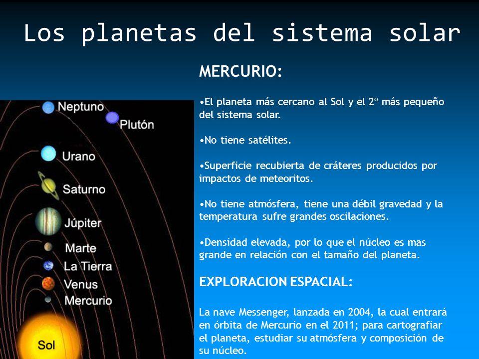 MERCURIO: El planeta más cercano al Sol y el 2º más pequeño del sistema solar. No tiene satélites. Superficie recubierta de cráteres producidos por im