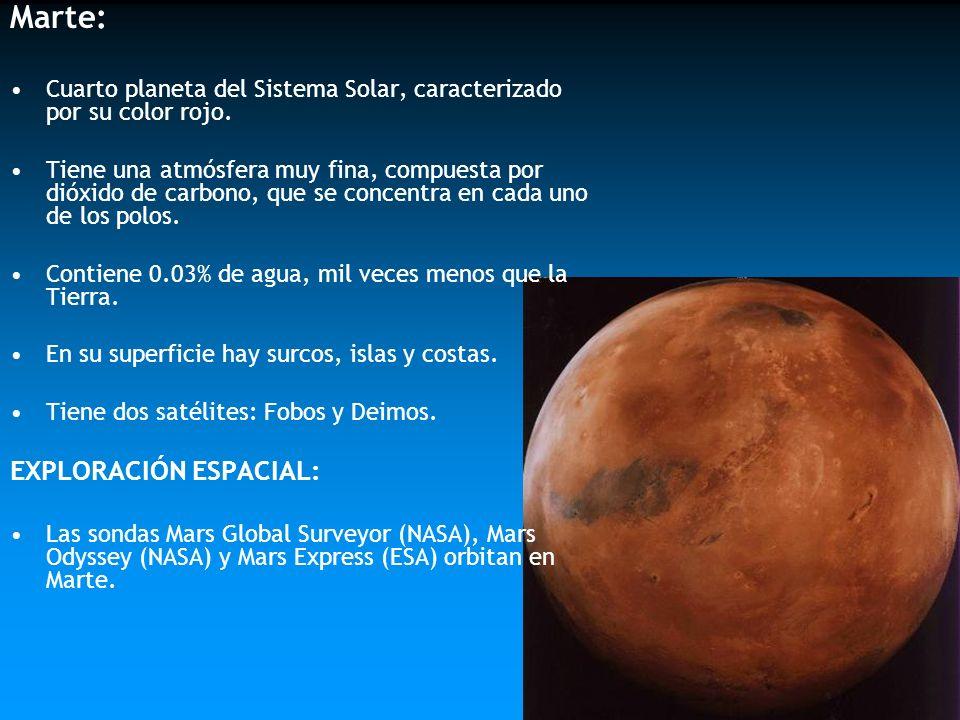 Marte: Cuarto planeta del Sistema Solar, caracterizado por su color rojo. Tiene una atmósfera muy fina, compuesta por dióxido de carbono, que se conce