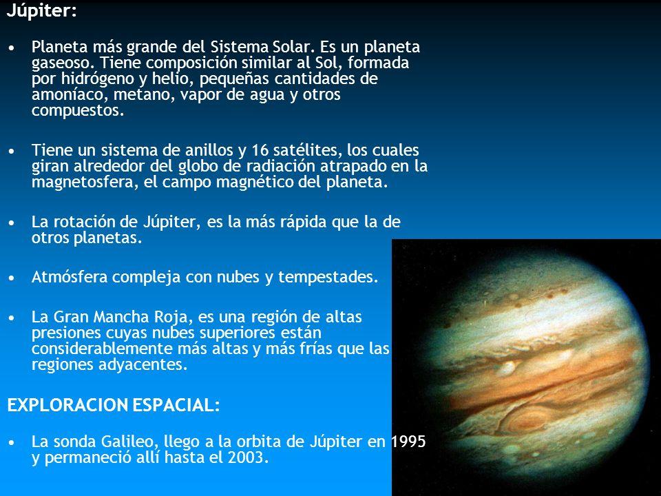 Júpiter: Planeta más grande del Sistema Solar. Es un planeta gaseoso. Tiene composición similar al Sol, formada por hidrógeno y helio, pequeñas cantid