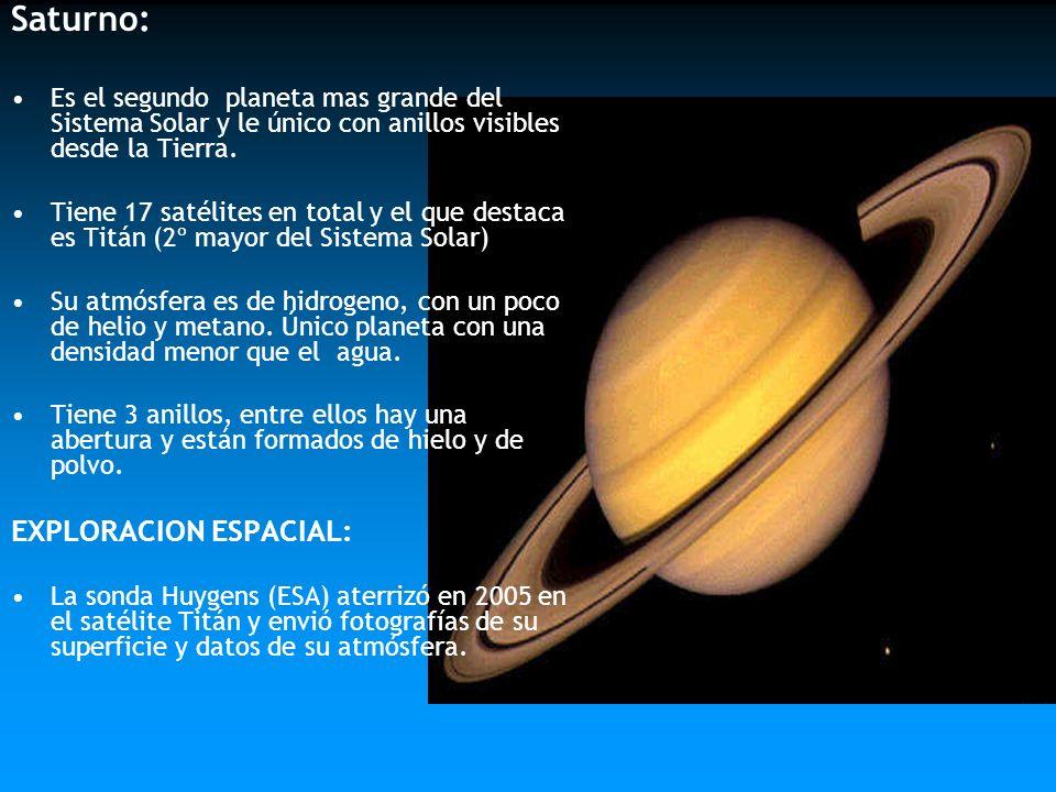 Saturno: Es el segundo planeta mas grande del Sistema Solar y le único con anillos visibles desde la Tierra. Tiene 17 satélites en total y el que dest