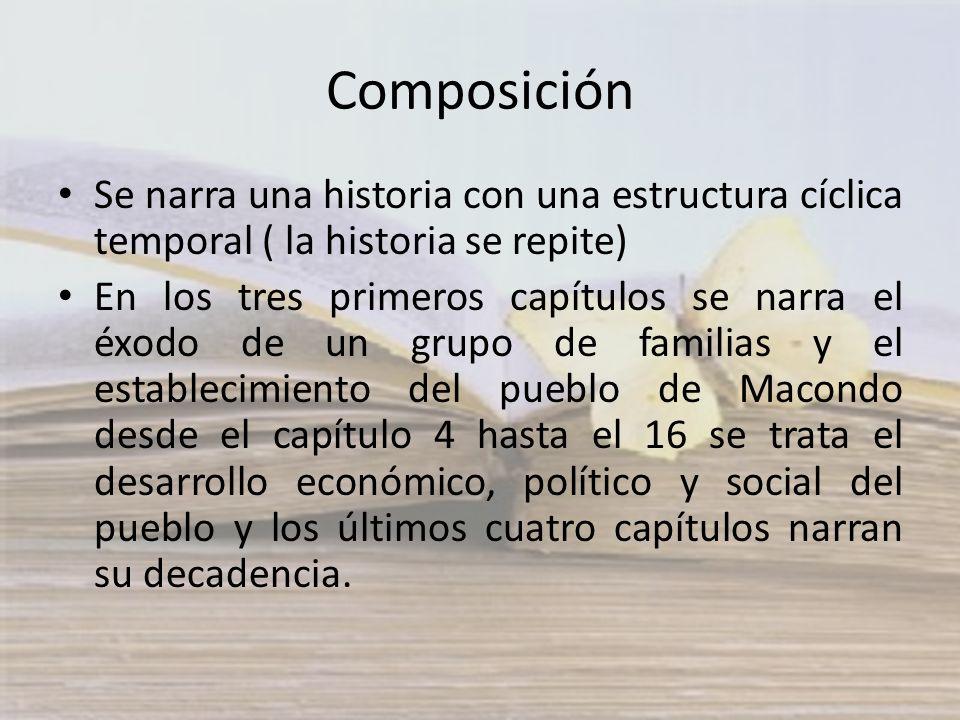 Composición Se narra una historia con una estructura cíclica temporal ( la historia se repite) En los tres primeros capítulos se narra el éxodo de un