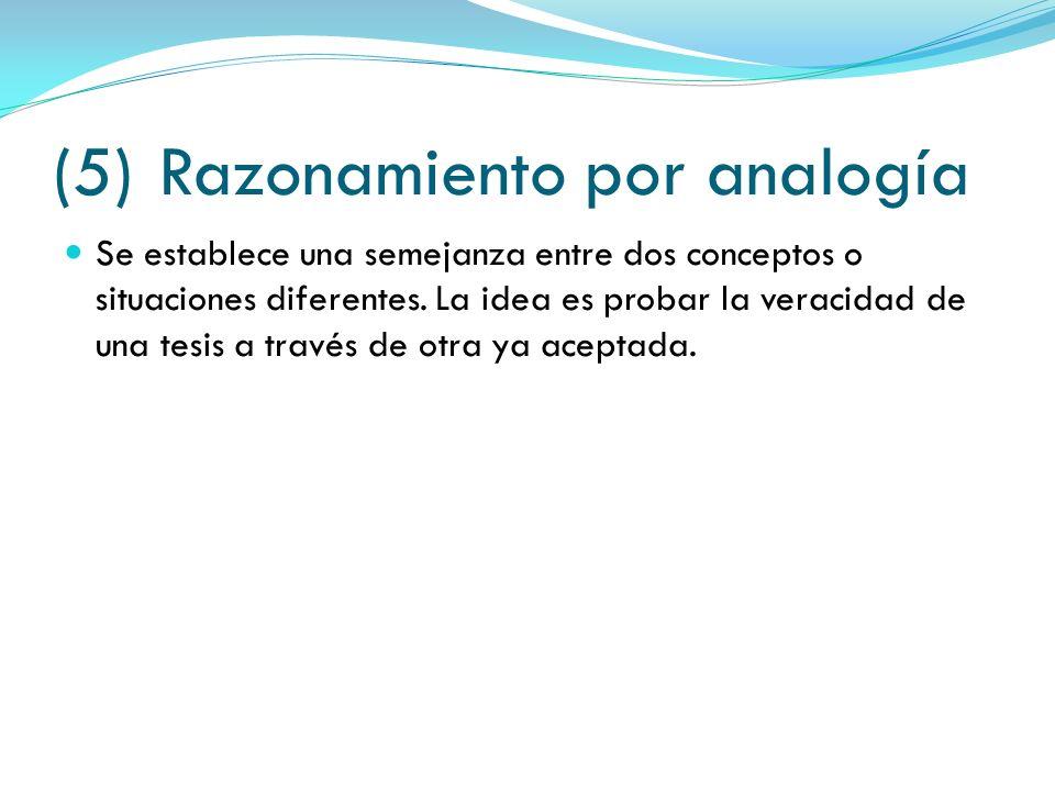 (5)Razonamiento por analogía Se establece una semejanza entre dos conceptos o situaciones diferentes. La idea es probar la veracidad de una tesis a tr