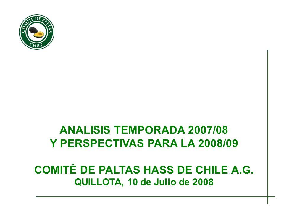 ANALISIS TEMPORADA 2007/08 Y PERSPECTIVAS PARA LA 2008/09 COMITÉ DE PALTAS HASS DE CHILE A.G. QUILLOTA, 10 de Julio de 2008