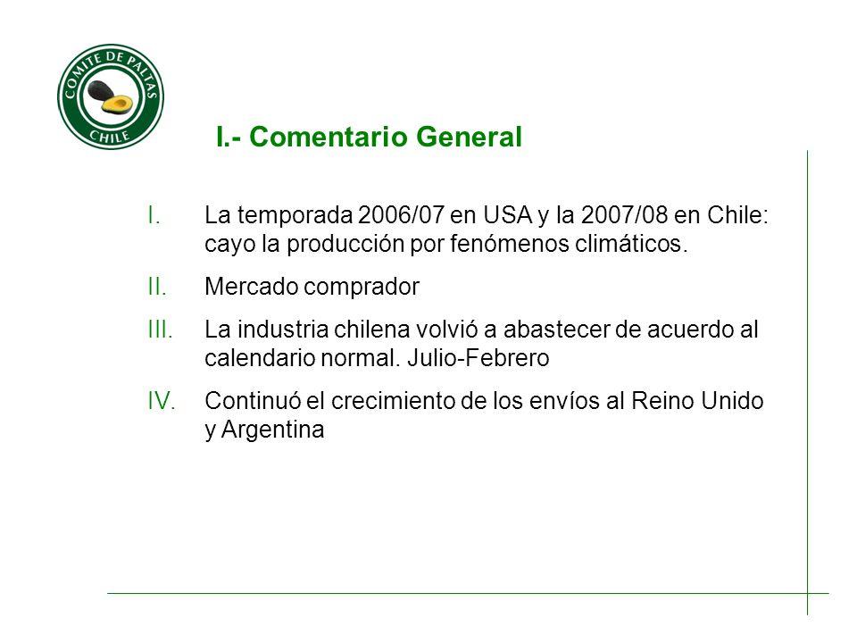 I.- Comentario General I.La temporada 2006/07 en USA y la 2007/08 en Chile: cayo la producción por fenómenos climáticos. II.Mercado comprador III.La i