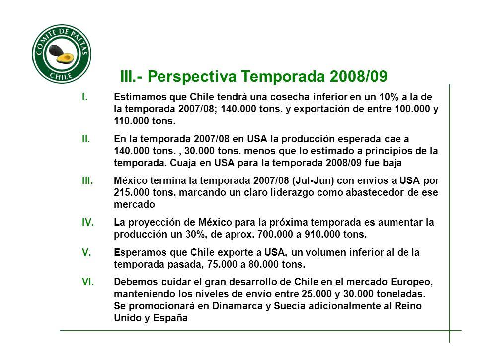 III.- Perspectiva Temporada 2008/09 I.Estimamos que Chile tendrá una cosecha inferior en un 10% a la de la temporada 2007/08; 140.000 tons. y exportac