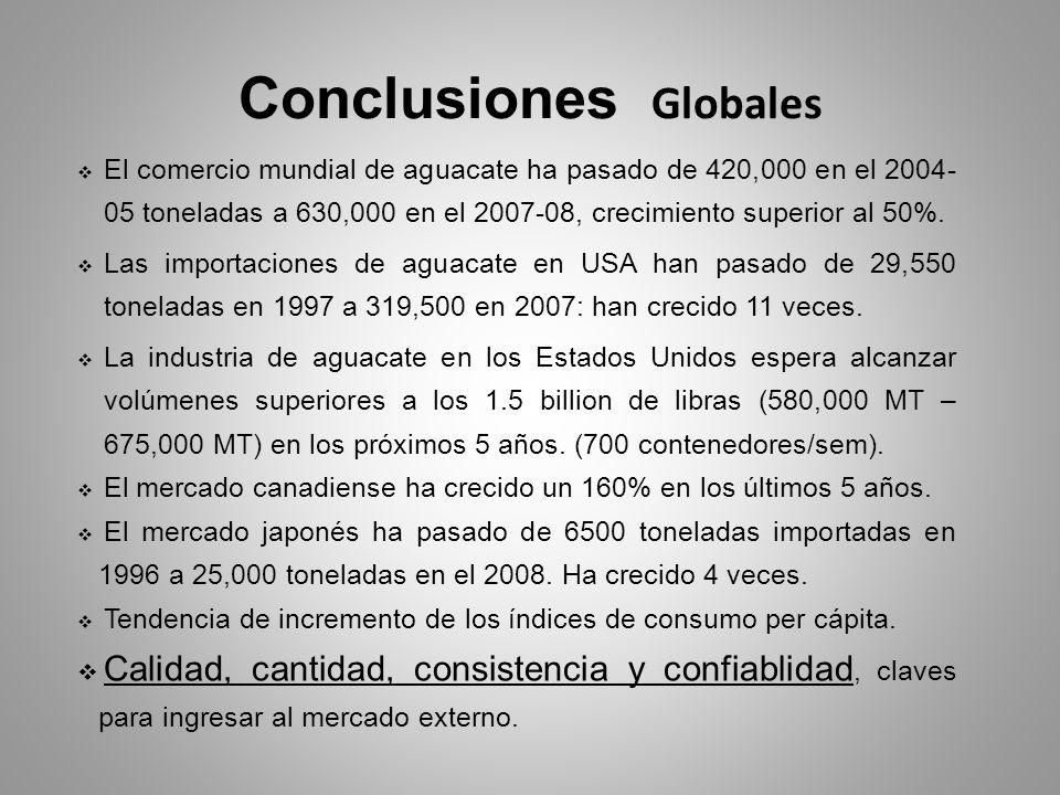 Conclusiones Globales El comercio mundial de aguacate ha pasado de 420,000 en el 2004- 05 toneladas a 630,000 en el 2007-08, crecimiento superior al 5