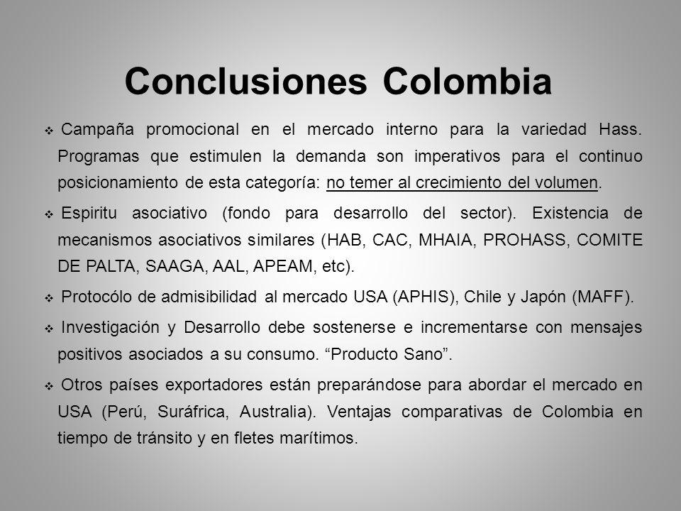 Conclusiones Colombia Campaña promocional en el mercado interno para la variedad Hass. Programas que estimulen la demanda son imperativos para el cont