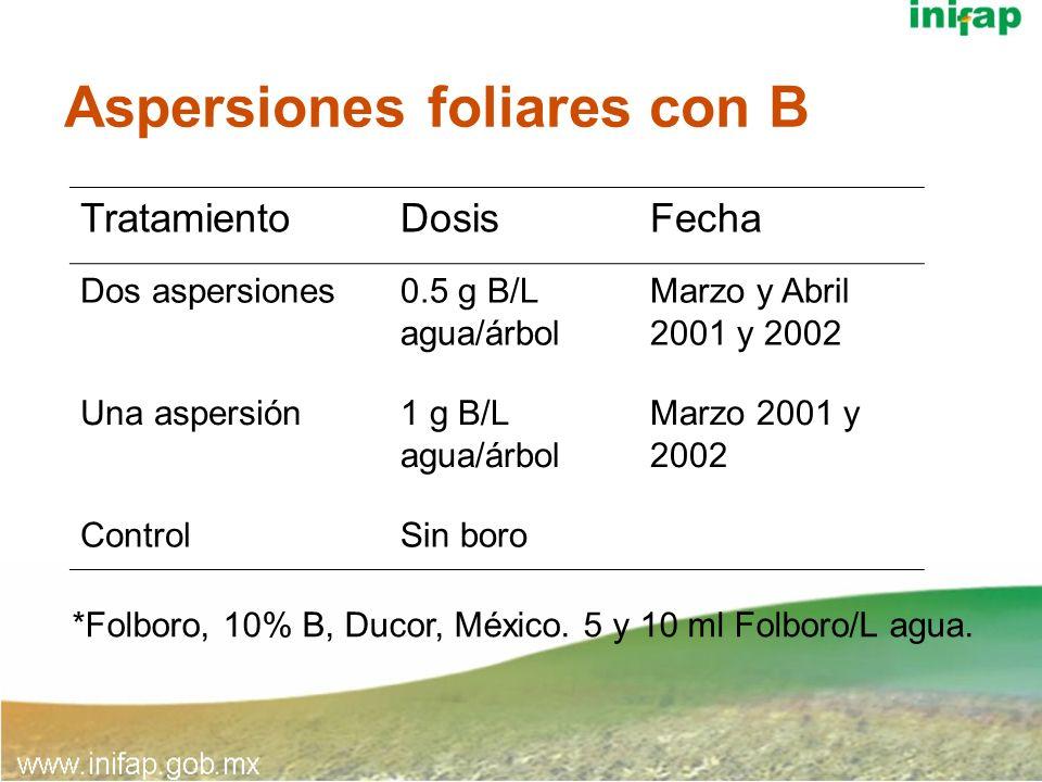Aspersiones foliares con B TratamientoDosisFecha Dos aspersiones0.5 g B/L agua/árbol Marzo y Abril 2001 y 2002 Una aspersión1 g B/L agua/árbol Marzo 2