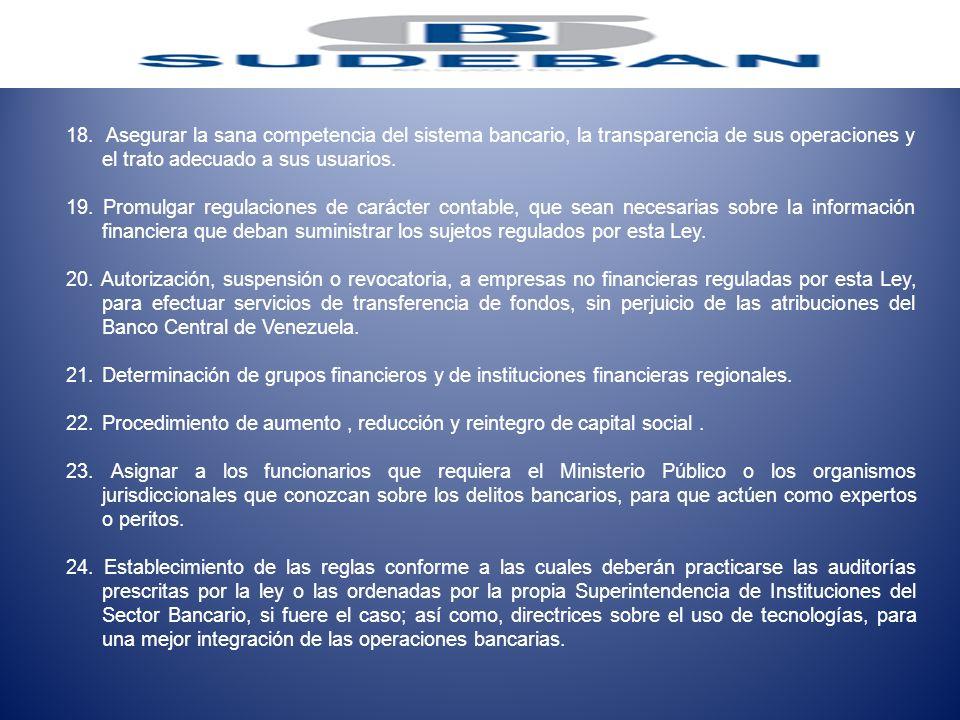 18. Asegurar la sana competencia del sistema bancario, la transparencia de sus operaciones y el trato adecuado a sus usuarios. 19. Promulgar regulacio