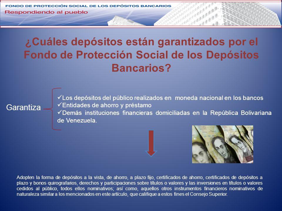 ¿Cuáles depósitos están garantizados por el Fondo de Protección Social de los Depósitos Bancarios? Adopten la forma de depósitos a la vista, de ahorro
