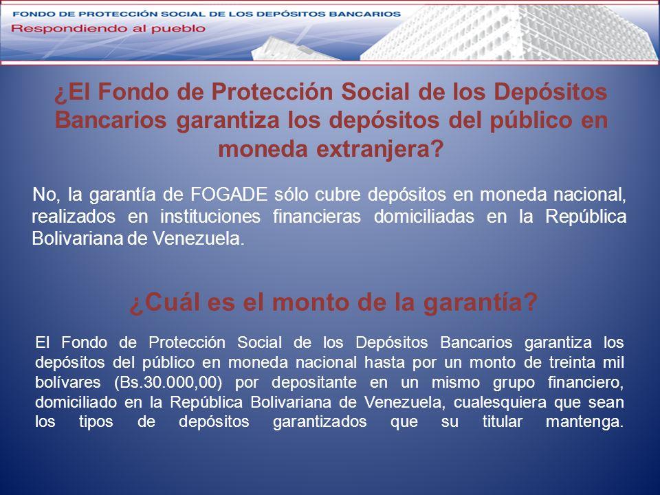 ¿El Fondo de Protección Social de los Depósitos Bancarios garantiza los depósitos del público en moneda extranjera? No, la garantía de FOGADE sólo cub