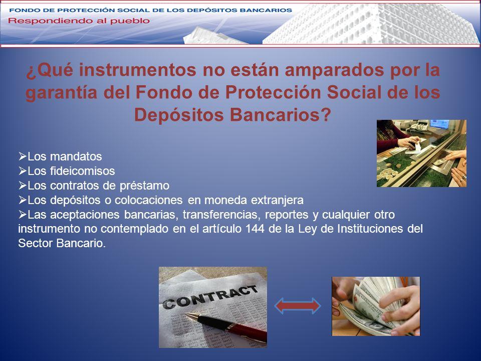 Los mandatos Los fideicomisos Los contratos de préstamo Los depósitos o colocaciones en moneda extranjera Las aceptaciones bancarias, transferencias,