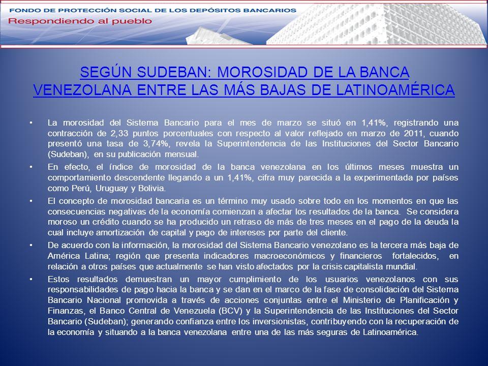 SEGÚN SUDEBAN: MOROSIDAD DE LA BANCA VENEZOLANA ENTRE LAS MÁS BAJAS DE LATINOAMÉRICA La morosidad del Sistema Bancario para el mes de marzo se situó e
