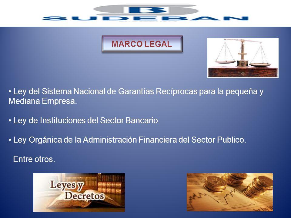 Ley del Sistema Nacional de Garantías Recíprocas para la pequeña y Mediana Empresa. Ley de Instituciones del Sector Bancario. Ley Orgánica de la Admin