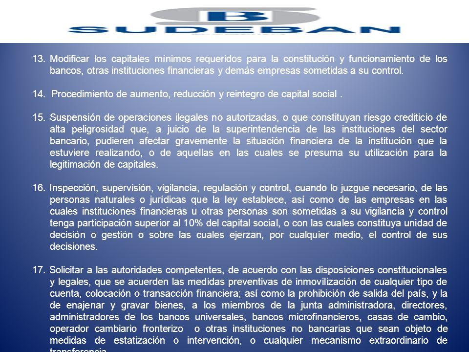 13.Modificar los capitales mínimos requeridos para la constitución y funcionamiento de los bancos, otras instituciones financieras y demás empresas so