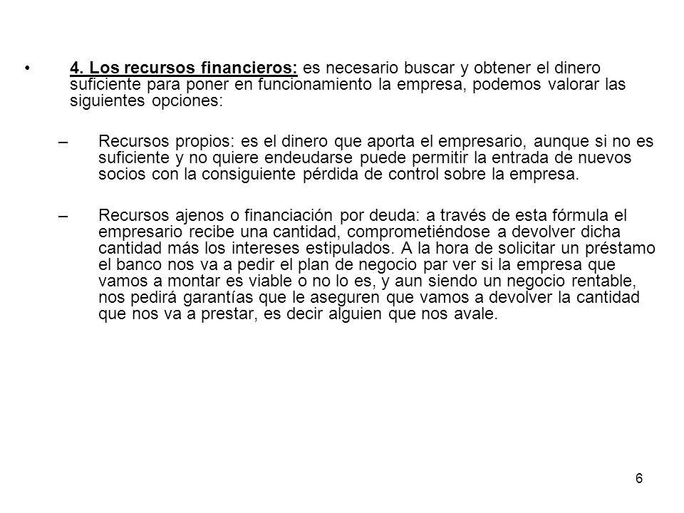 6 4. Los recursos financieros: es necesario buscar y obtener el dinero suficiente para poner en funcionamiento la empresa, podemos valorar las siguien