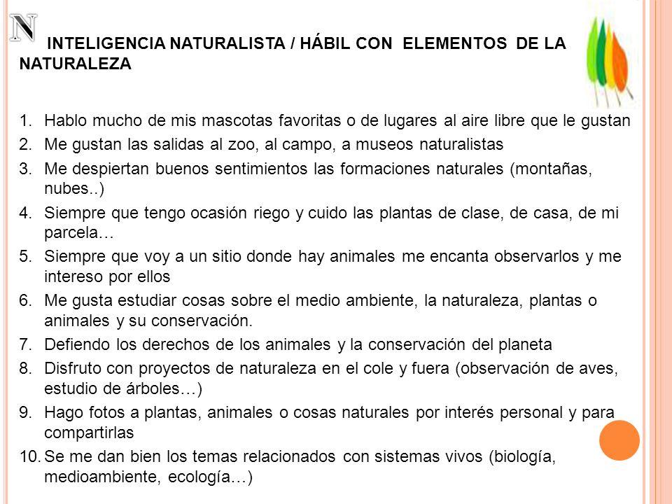 INTELIGENCIA NATURALISTA / HÁBIL CON ELEMENTOS DE LA NATURALEZA 1.Hablo mucho de mis mascotas favoritas o de lugares al aire libre que le gustan 2.Me
