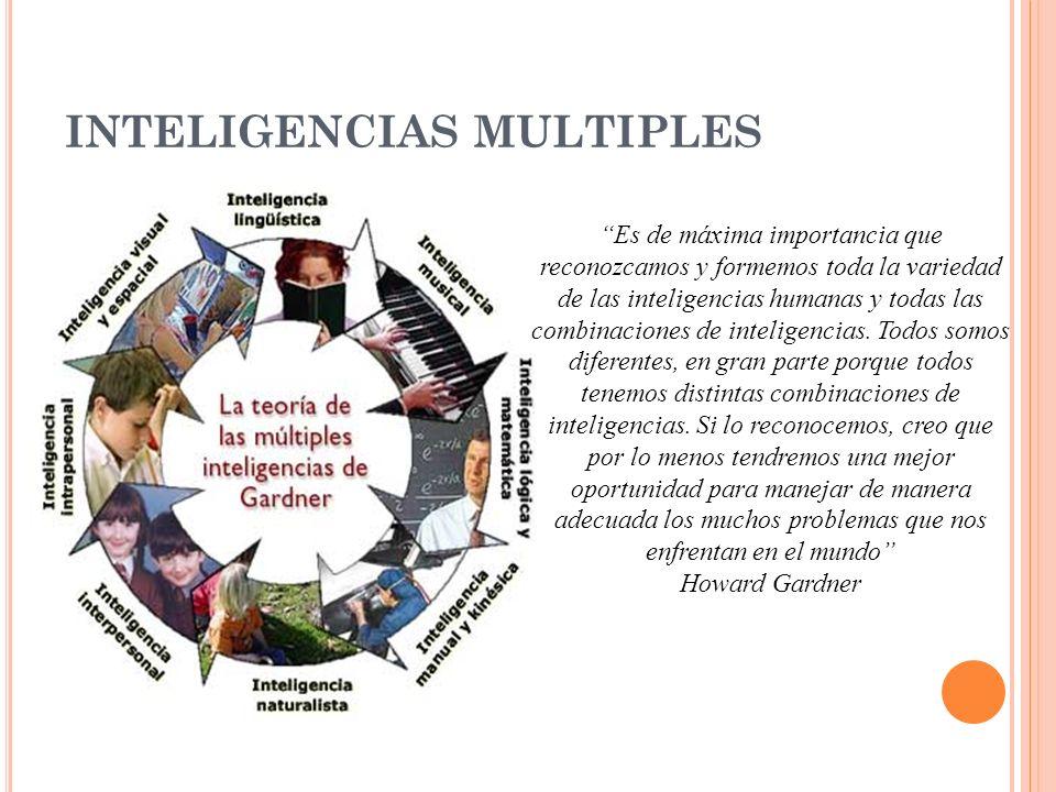 INTELIGENCIAS MULTIPLES Es de máxima importancia que reconozcamos y formemos toda la variedad de las inteligencias humanas y todas las combinaciones d