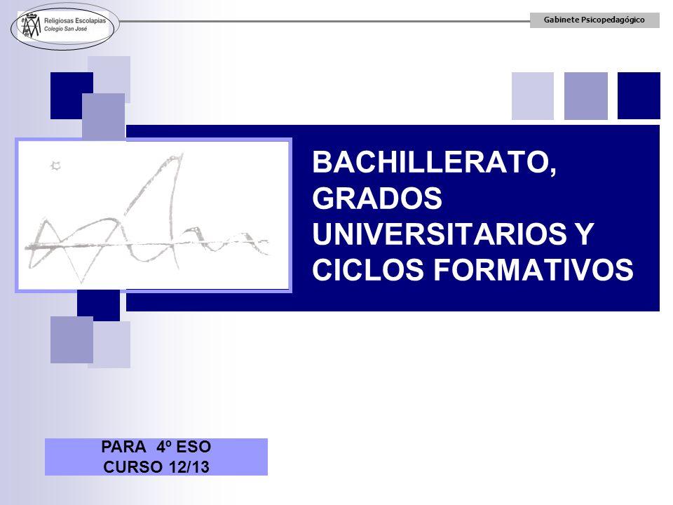 Gabinete Psicopedagógico BACHILLERATO, GRADOS UNIVERSITARIOS Y CICLOS FORMATIVOS PARA 4º ESO CURSO 12/13