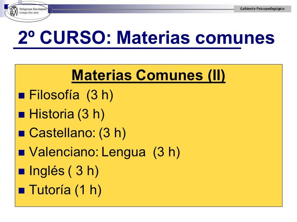 Gabinete Psicopedagógico 2º CURSO: Materias comunes Materias Comunes (II) Filosofía (3 h) Historia (3 h) Castellano: (3 h) Valenciano: Lengua (3 h) In