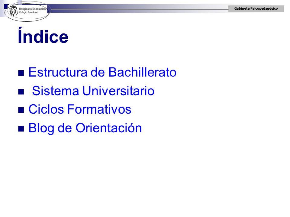 Gabinete Psicopedagógico 2º CURSO: Por modalidades Las asignaturas de modalidad obligatorias y todas las optativas, son de 4 h.