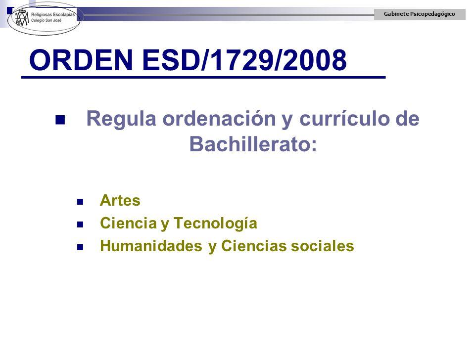Gabinete Psicopedagógico ORDEN ESD/1729/2008 Regula ordenación y currículo de Bachillerato: Artes Ciencia y Tecnología Humanidades y Ciencias sociales