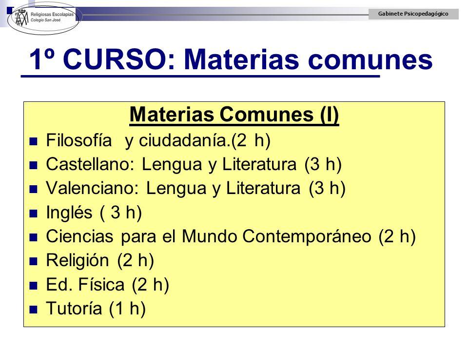 Gabinete Psicopedagógico 1º CURSO: Materias comunes Materias Comunes (I) Filosofía y ciudadanía.(2 h) Castellano: Lengua y Literatura (3 h) Valenciano