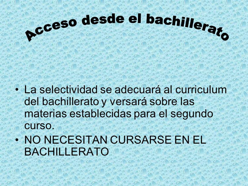 La selectividad se adecuará al curriculum del bachillerato y versará sobre las materias establecidas para el segundo curso.