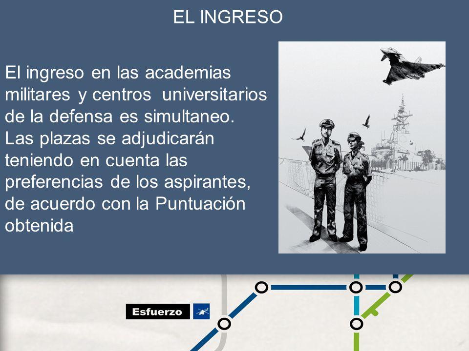 12 EL INGRESO El ingreso en las academias militares y centros universitarios de la defensa es simultaneo. Las plazas se adjudicarán teniendo en cuenta