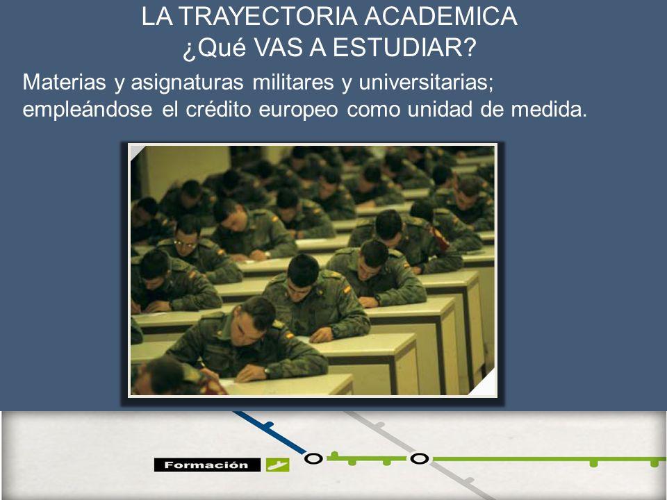 16 LA TRAYECTORIA ACADEMICA ¿Qué VAS A ESTUDIAR? Materias y asignaturas militares y universitarias; empleándose el crédito europeo como unidad de medi