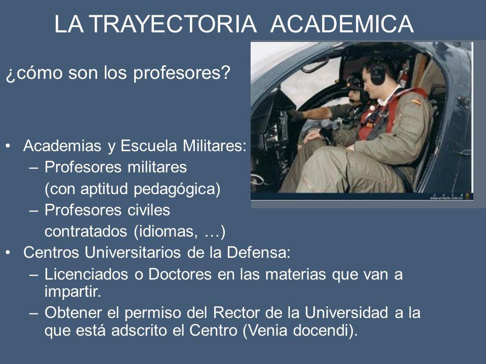 Academias y Escuela Militares: –Profesores militares (con aptitud pedagógica) –Profesores civiles contratados (idiomas, …) Centros Universitarios de l