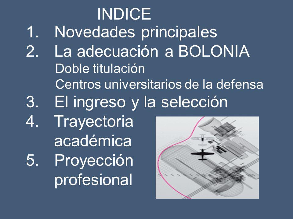 1. Novedades principales 2. La adecuación a BOLONIA Doble titulación Centros universitarios de la defensa 3. El ingreso y la selección 4. Trayectoria