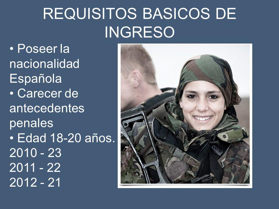 Poseer la nacionalidad Española Carecer de antecedentes penales Edad 18-20 años. 2010 - 23 2011 - 22 2012 - 21 REQUISITOS BASICOS DE INGRESO