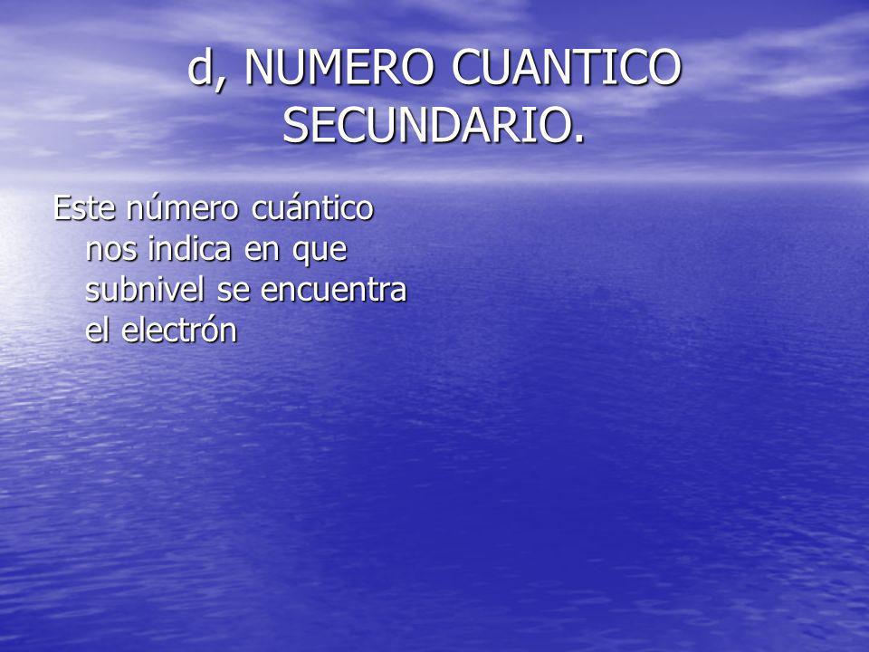 d, NUMERO CUANTICO SECUNDARIO. Este número cuántico nos indica en que subnivel se encuentra el electrón