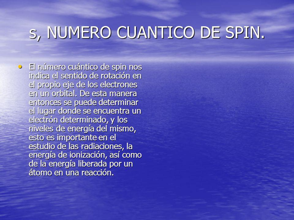 s, NUMERO CUANTICO DE SPIN. El número cuántico de spin nos indica el sentido de rotación en el propio eje de los electrones en un orbital. De esta man