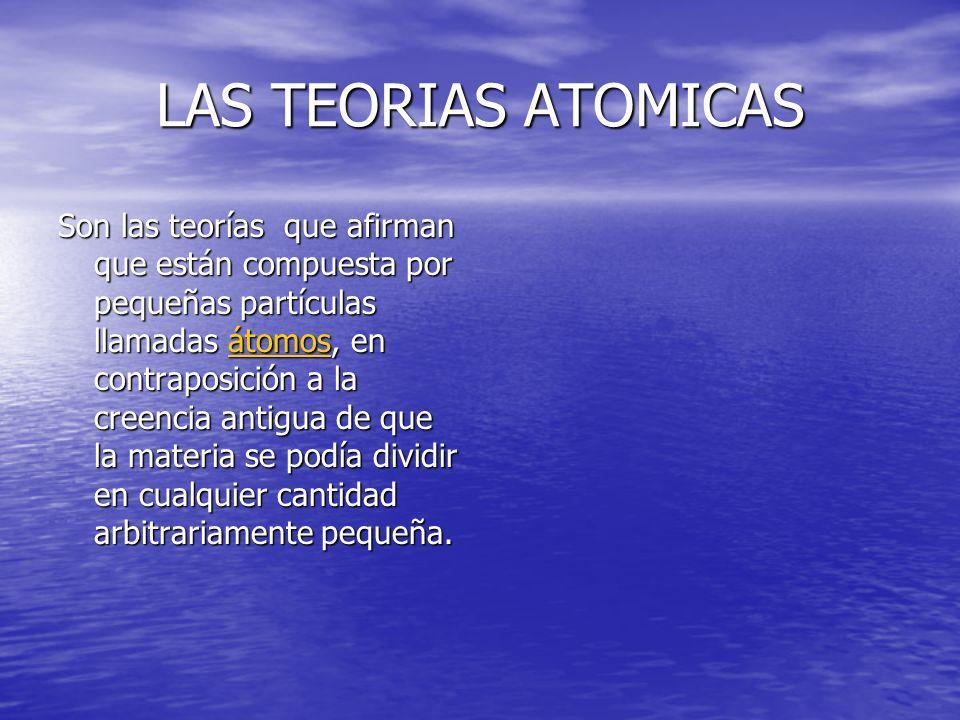 LAS TEORIAS ATOMICAS Son las teorías que afirman que están compuesta por pequeñas partículas llamadas átomos, en contraposición a la creencia antigua
