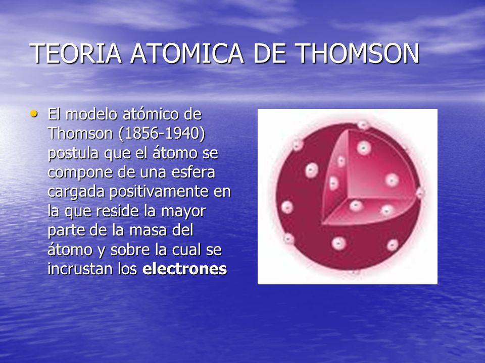 TEORIA ATOMICA DE THOMSON El modelo atómico de Thomson (1856-1940) postula que el átomo se compone de una esfera cargada positivamente en la que resid