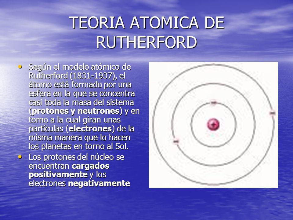 TEORIA ATOMICA DE RUTHERFORD Según el modelo atómico de Rutherford (1831-1937), el átomo está formado por una esfera en la que se concentra casi toda