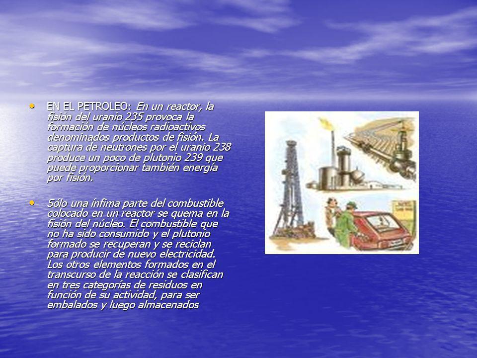 EN EL PETROLEO: En un reactor, la fisión del uranio 235 provoca la formación de núcleos radioactivos denominados productos de fisión. La captura de ne