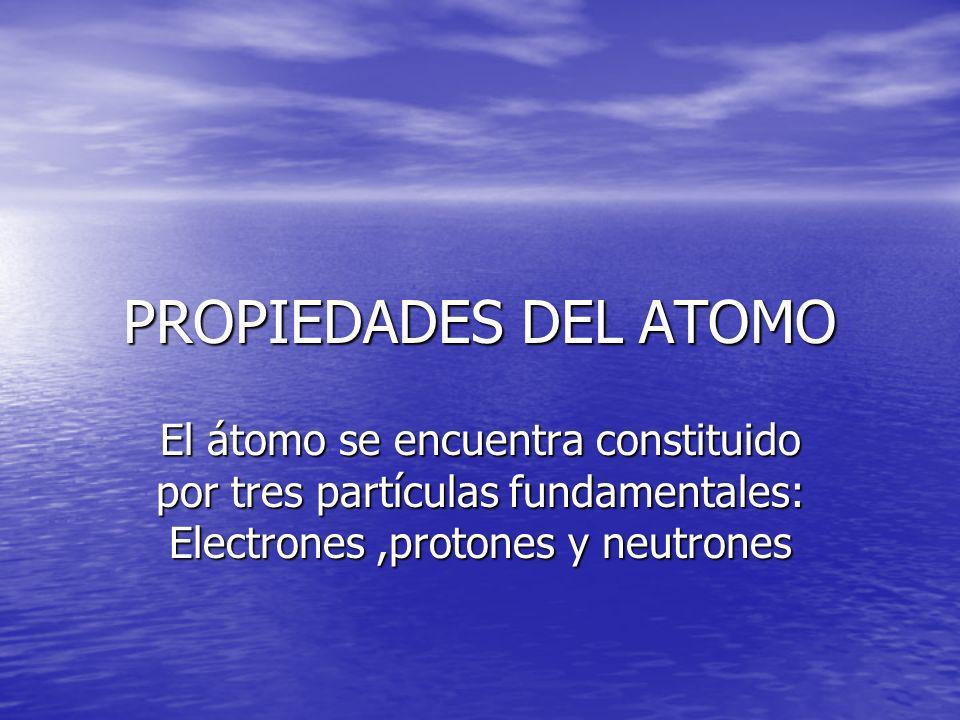 PROPIEDADES DEL ATOMO El átomo se encuentra constituido por tres partículas fundamentales: Electrones,protones y neutrones